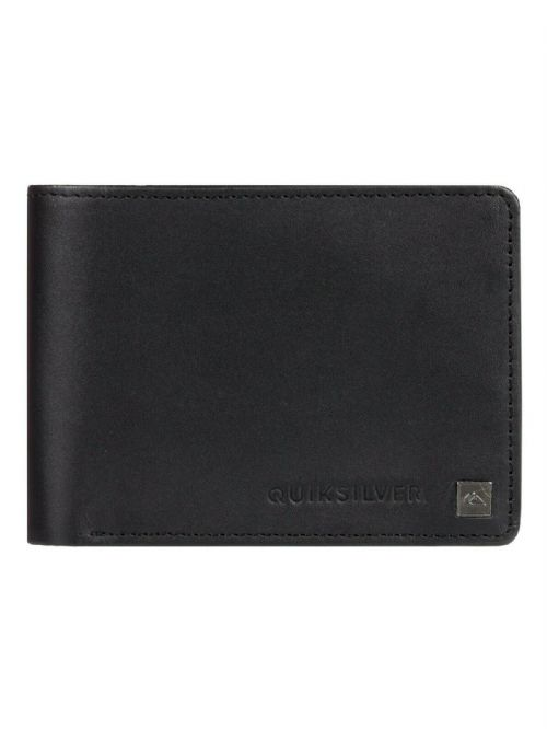 QUIKSILVER MENS WALLET.BOXED MACK REAL LEATHER BLACK MONEY CARD NOTE PURSE 9W 3K